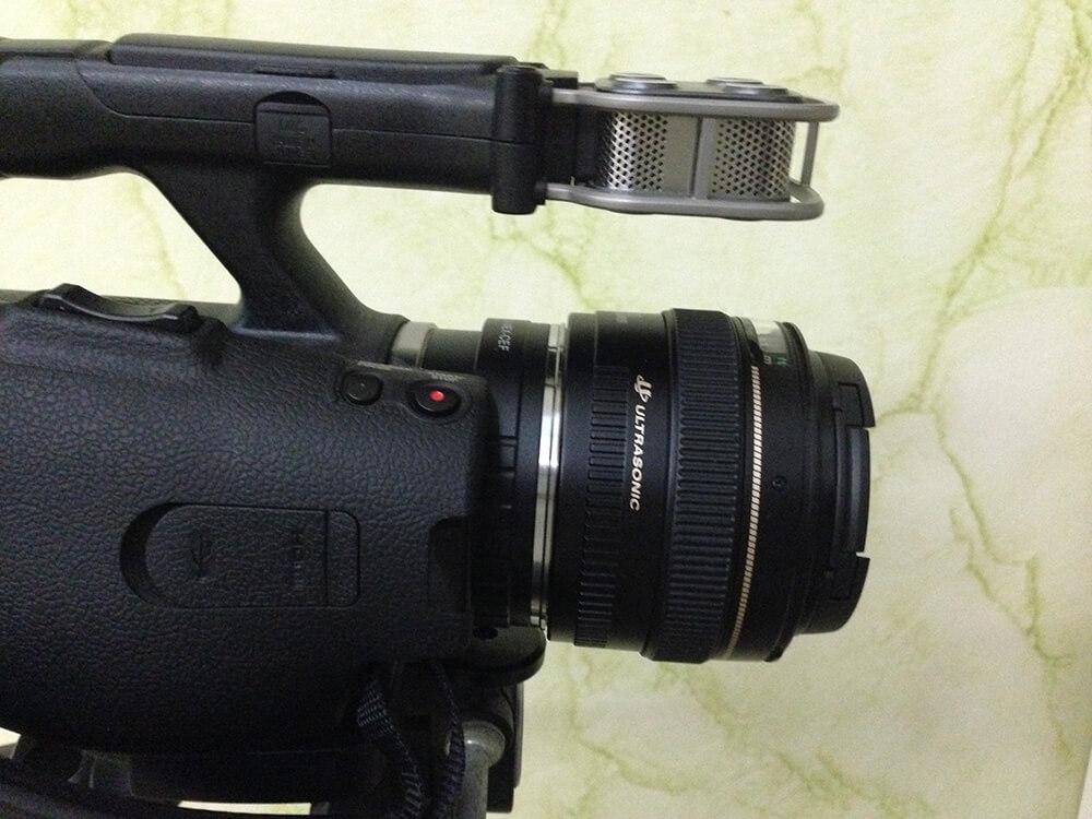 الكاميرا سوني مع المحول مع عدسة كانون
